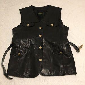 Danier Leather Black Belted Vest